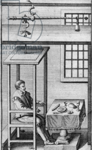 Sanctorius (Sanctorio Sanctorio) (1561-1636) Italian physician and physiologist, friend of Galileo.  Shown here seated in his balance (a steelyard) in which he could eat and sleep.  He was the first to perform experiments on metabolism.  From Ars de statica medicina by Sanctorius (Leyden, 1711).